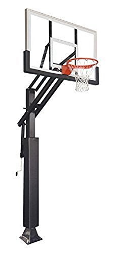 Game Changer in-Ground Adjustable Basketball Goal Hoop with 60' Glass Backboard System for Outdoor Basketball Courts with Post & Backboard Pad