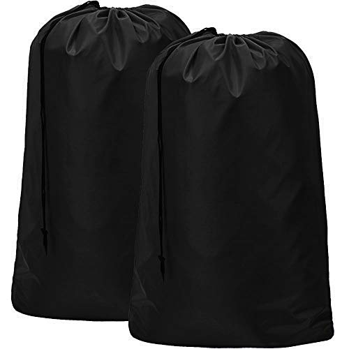 HOMEST 2 Pack Large Nylon Laundry Bag, Machine Washable Large Dirty Clothes Organizer, Easy Fit a Laundry Hamper or Basket, Can Carry Up to 4 Loads of Laundry, Black