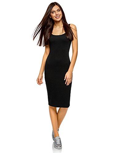 oodji Ultra Mujer Vestido-Camiseta de Tirantes de Punto, Negro, ES 40 / M