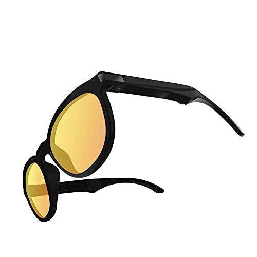 Sharplace Gafas de Sol de conducción ósea G4, Auriculares de conducción ósea Bluetooth Auriculares inalámbricos Manos Libres Auriculares Abiertos - Amarillo