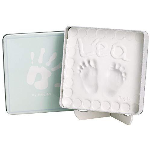 Baby Art - Magic Box, elegante geschenkdoos met gipsafdruk om zelf te maken voor babyvoetjes of handjes Hoekige doos. Eckige Box lichtblauw