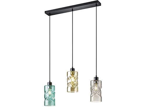 Lampada a sospensione a LED a 3 luci, in metallo con vetro fumo, diametro ca. 11 cm, color ambra/turchese/fumo.