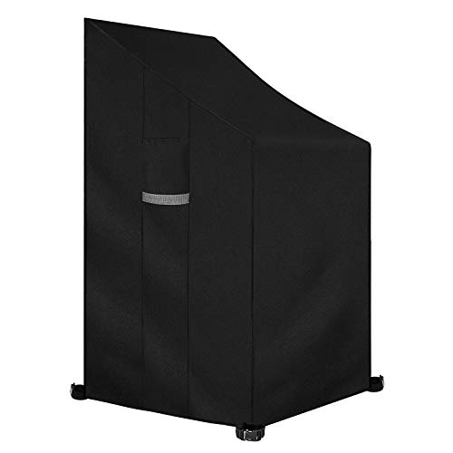 Dokon Patio Stacking Chair Cover with Air Vent, Waterproof, Windproof, Anti-UV, Heavy Duty Rip Proof 600D Oxford Fabric Reclining Garden Chair Cover, (65 x 65 x 120 / 80cm) - Black