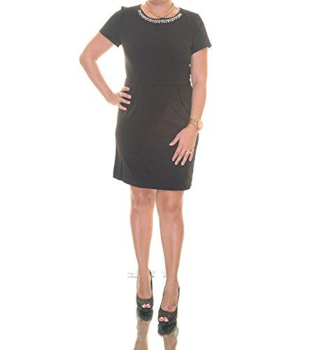 Kensie Short-Sleeve Embellished Dress (Only at Macy's), Black Combo, M