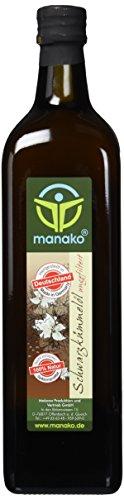 manako Schwarzkümmelöl human, ungefiltert, naturbelassen, kaltgepresst, 100% rein, 1000 ml Glasflasche (1 x 1 l)