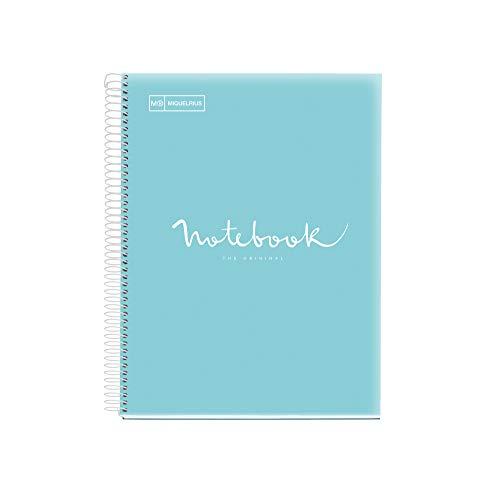 Miquelrius - Cuaderno Espiral Microperforado, Cubierta Cartón Extraduro, Tamaño A5 148 x 210 mm, 2 taladros, 120 Hojas de 90 g/m² y 5 Franjas de Color, Rayado Horizontal de 7 mm, Color Azul Cielo