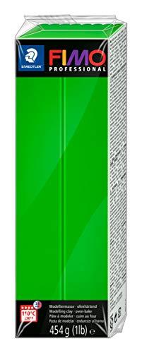Rayher 34448424 Pasta modellabile termoindurente Fimo Professional, Panetto grande da 454g, colore Verde Sap