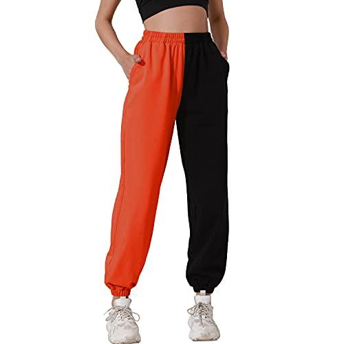 HAPYWER Pantalones de deporte de algodón para mujer, largos, con bolsillos, pantalones de entrenamiento, bloques de colores, pantalones de ocio, correr, yoga, bailar, tallas S-2XL naranja L