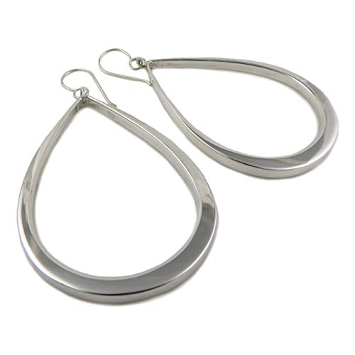 Wide 925 Sterling Silver Three Dimensional Drop Earrings