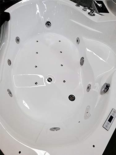 SDI Factory Direct 2 Person Corner Hydrotherapy Whirlpool Bathtub Spa Massage Therapy Hot Tub w/Heater, Bluetooth, LED Lights - SYM084A