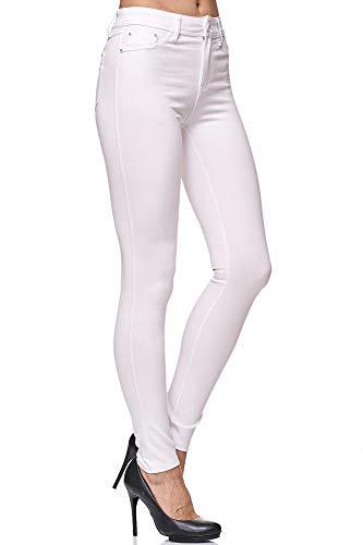 Elara Pantalón Elástico de Mujer Skinny Fit Jegging Chunkyrayan Blanco H13 White 36 (S)