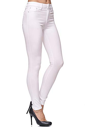 Elara Damen Stretch Hose Skinny Fit Jegging Chunkyrayan H13 White 42 (XL)