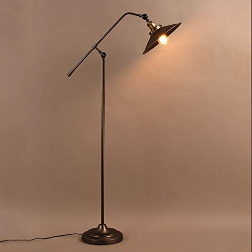 XIN Home staande lamp, staande led, industriële vloerlamp woonkamer slaapkamer studie loft retro ijzer creatieve staande lamp oogbescherming verticale tafellamp