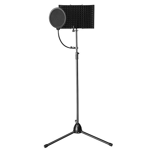 AGPTEK Microphone Studio Recording Kit with Microphone Isolation Shield, Adjustable Wind Screen Bracket Stand, Pop Filter, for Vocal Acoustic Recording and Podcasting