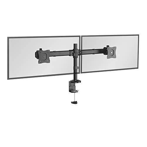 RICOO TS6211, Monitor Schreibtisch-Halterung 2 Monitore, Schwenkbar, Neigbar 13-27 Zoll (33-69cm), Bildschirm-Ständer, Standfuß, VESA 100x100, Schwarz