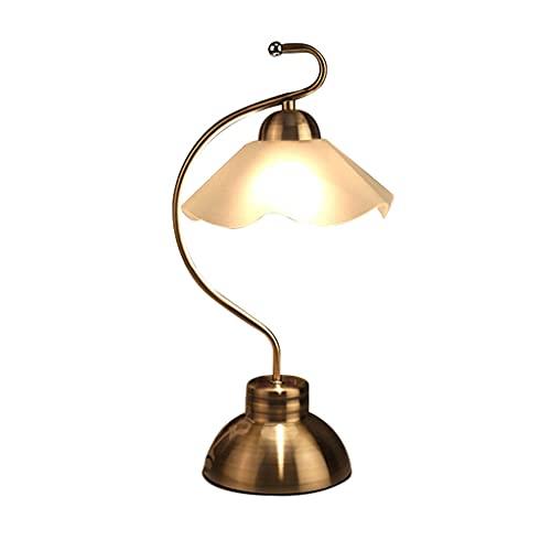 Lámpara de mesa de servicio China Retro Lámpara de mesa sala de estar dormitorio lámpara de cama lotus vidrio lotesshade, usado en el estudio de la oficina Tienda de café Lámparas de mesa decorativas