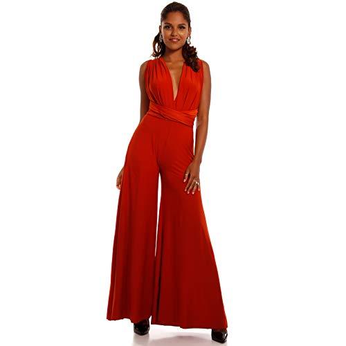 Made Italy Damen Schlag Overall Hippie Jumpsuit Rückenfrei, Farbe:Rot;Größe:One Size