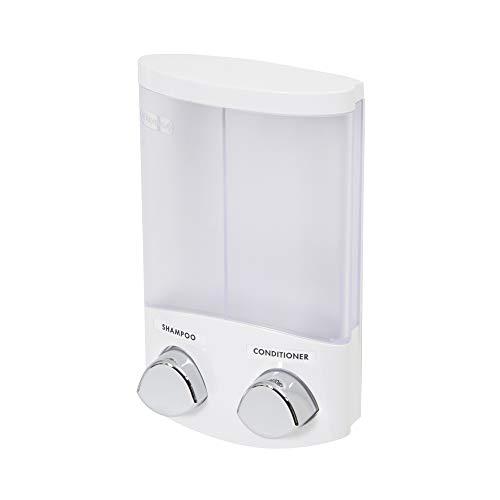 Rangement & Cie Blanc RAN6015 Duo-Dispensador de jabón (plástico ABS, 310 ml), Color Plastic & PS Clear Frosted, Applicable