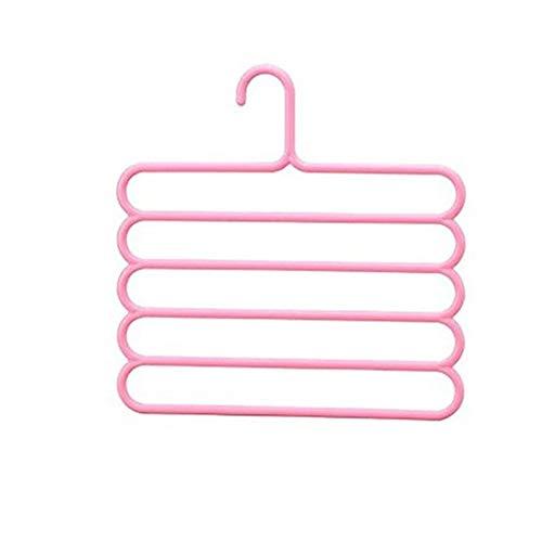 1 Pc 35 X 34,6 X 1 Cm Multilayer Kleerhanger Organizer Praktische 5 Lagen Pants Sjaal Tie Hangers Ruimtebesparend Kleding Droogrekken (Color : Pink)