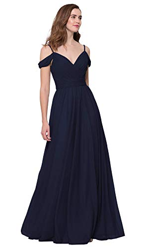 HWPRHEI A Line V-Neck Bridesmaid Dresses for Women Off Shoulder Long Party Gown Elegant Chiffon Formal Promdresses (Navy Blue-14)