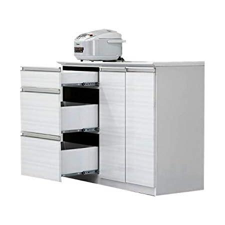 日本製 幅110cm キッチンカウンター 完成品 (ホワイト)