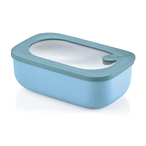 Guzzini Kitchen Active Design Contenitore Ermetico Rettangolare per Frigo/Freezer/Forno a Microonde, Spalvieri & Del Ciotto, 20 x 12 x h7 cm, 900 cc, Blu