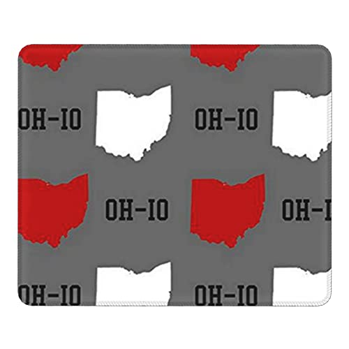 Oh-Io State Gray Gaming Mouse Pad with Stitched Edges Office Computer Accessories Non-Slip Rubber Base Mousepads for Desktop,Notebook,PC Mousemat