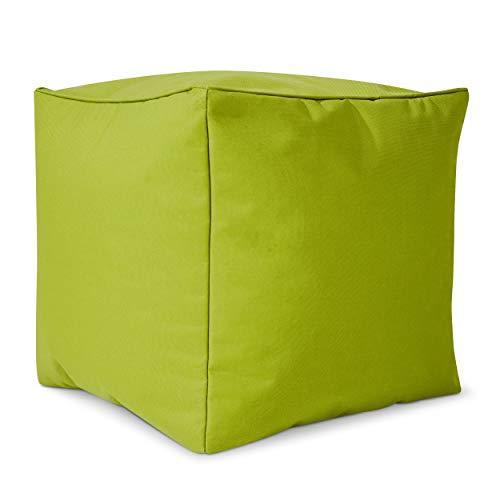 Green Bean © Cube Sitzsack Hocker 40x40x40 cm, Erweiterung & Addon für Cozy Gaming Beanbag, Sitzhocker, Fußhocker für Sitzsäcke, Fußkissen & Stütze, Fußablage für Kinder und Erwachsene, Grün