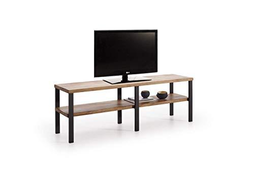 Mueble TV Estilo Industrial-Vintage con Baldas De Madera Maciza Natural Acabado Encerado. Medidas; 140 x 45 x 35 cm