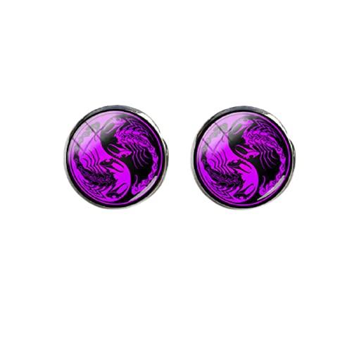 Yin Yang - Pendientes de dragón, color negro, magenta, animales, redondos, cabujón, cristal, para mujeres