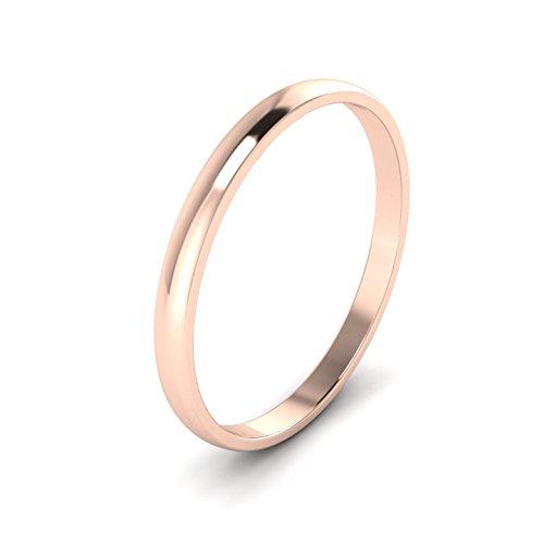 Unisex Solid 9ct Rose Gold, 2mm D Shape, Polished Wedding Ring Plain Band (J)