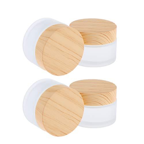 B Blesiya 4 Stück 50g Glas-Tiegel Leere Creme Glas-Dose, Salbentiegel, Kosmetik-Dose Kosmetik Behälter mit Schraubdeckel