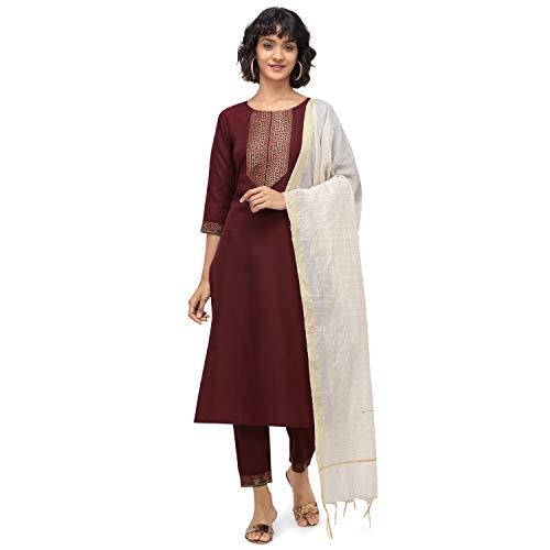 NAINVISH Women Maroon Straight Cotton Kurti Pant Set with Dupatta (SD096)