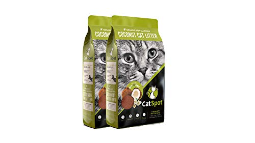 CatSpot Non-Clumping Litter: Coconut Cat Litter, All-Natural, 100% Organic, Biodegradable, Lightweight & Dust-Free (Non-Clumping, 2 Bags)