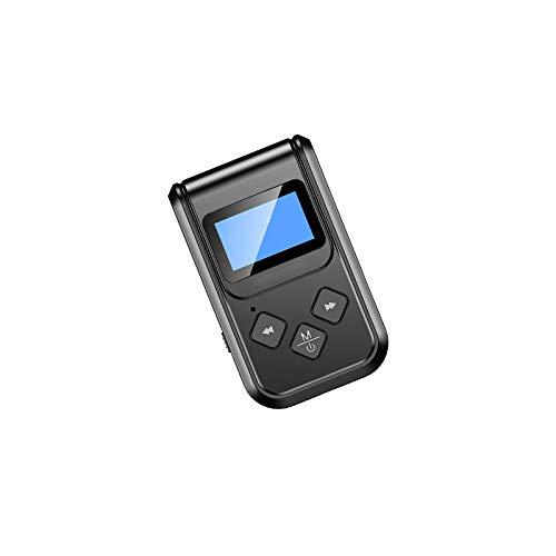 Kasachoy Transmisor y receptor Bluetooth, transmisor inalámbrico Bluetooth 5.0 con pantalla LCD, adaptador Bluetooth inalámbrico 2 en 1 para PC, TV, altavoces, auriculares