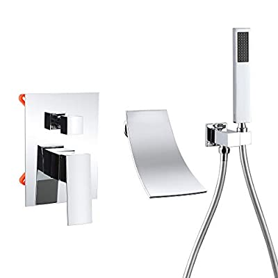 Waterfall Tub Faucet with Handheld Shower Chrome, High Flow Waterfall Wall Mounted Bathtub Faucet, Waterfall Spout Tub Filler Solid Brass with cUPC Certified- DEOLER