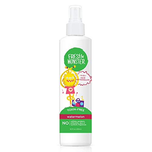 Fresh Monster Kids Detangler Spray (Watermelon, 8.5oz) - No Toxins - Hypoallergenic - Natural Conditioning Spray Smoothes Tangles