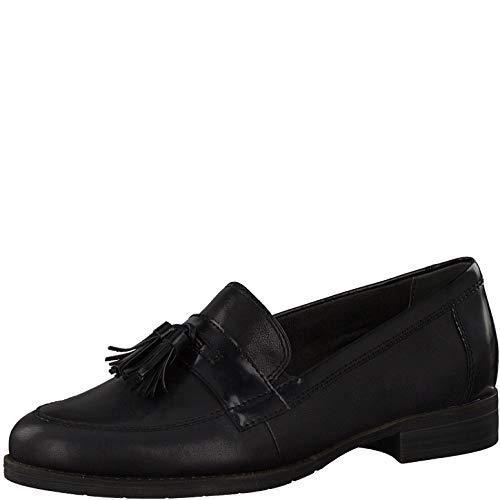 Tamaris Damen Mokassins, Frauen Slipper, Women Woman Freizeit schlupfhalbschuh Slip-on College Schuh Loafer weiblich,Black,40 EU / 6.5 UK