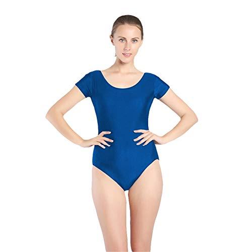 SK Studio Mujer Danza Ballet Gimnasia Leotardo Body Clásico Manga Corta Cuello Redondo Elástico Traje de Baile Azul M