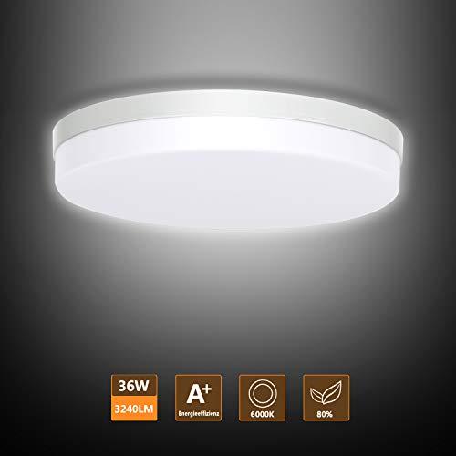 Ouyulong LED Deckenleuchte 36W 6000K 3240LM, Für Wohnzimmer,Schlafzimmer,Balkon -Super helle Deckenleuchte, Deckenleuchte Wohnzimmer 230×230×40 mm (Rund, Weiß Licht 6000K)