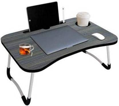 VISHRUTI Creation Laptop Table, Study Tab with Cartoon and Education Theme, Multipurpose Foldable Study Table, Laptop Table with Tablet Slot & Cup Holder, Study Table Gifts for Kids (Black Colour)