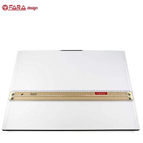 Tavoletta Parallelografo Fara Modello Scuola con Maniglia - Riga 70cm in Legno - Leggio cm. 73 x 50