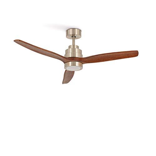 IKOHS Windlight Nickel Deckenventilator mit Licht, 3 Flügel, Fernbedienung, 132 cm Durchmesser, 6 Geschwindigkeiten, leise, Timer, Holzflügel, 3 Lichtarten, 40 W (dunkles Holz)