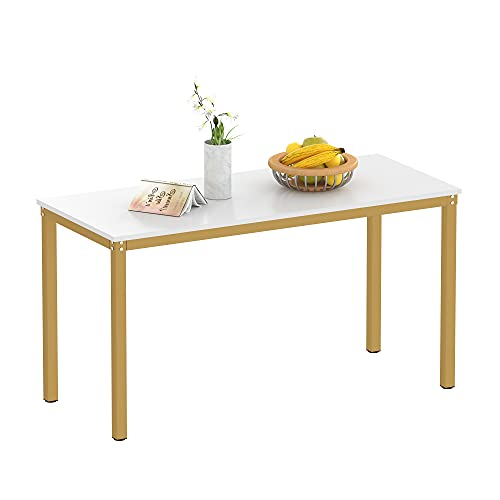 """Teraves Dining Table,Kitchen Table Multifuntional Desk for Living Room, Dining Room,Home Office (39.37"""", White+Golden Frame)"""
