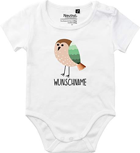 Sticker-tegel cadeauset baby body & kussen met gewenste naam diermotief dieren vogel