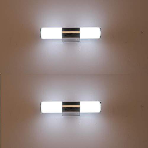XIAJIA-2 pcs 6W LED Lámpara de pared Interior,Moderna Apliques de Pared, Lámpara de Espejo Baño,perfecto para Lámpara de Decoración para, Longitud 25cm.Blanco/Blanco frío