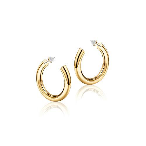 Gold Hoop Earrings for Women, 14K Gold Plated Lightweight Chunky Open Hoops 25mm Gold Hoop Earrings for Women