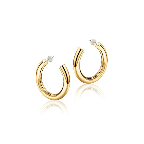 Gold Hoop Earrings for Women, 14K Gold Plated Lightweight Chunky Open Hoops 25mm Gold Hoop Earrings for Women