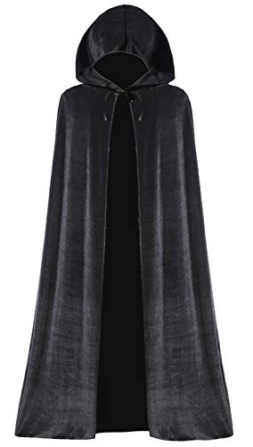 Seawhisper Umhang Schwarz Fasching Maleficent Kostüm Damen Umhang mit Kapuze Vampir Umhang Lange Cape aus Samt