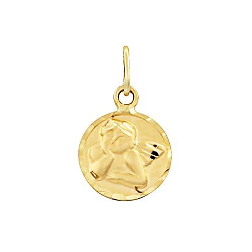 Medalla lenteja ángel de la guarda bebé oro amarillo 18k 9mm